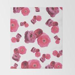 Pink White Ranunculus Throw Blanket