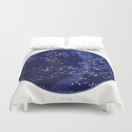 French March Star Map in Deep Navy & Black, Astronomy, Constellation, Celestial Duvet Cover