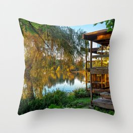 Small Lonely House at the Forest Lake Throw Pillow