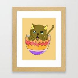 Lindo Gatito color Cafes  Framed Art Print