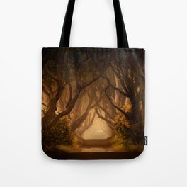 Sunny morning at Dark Hedges Tote Bag