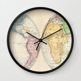Vintage Map of The World (1862) 2 Wall Clock