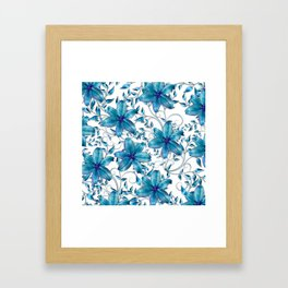 LILY AND VINES BLUE AND WHITE PATTERN Framed Art Print