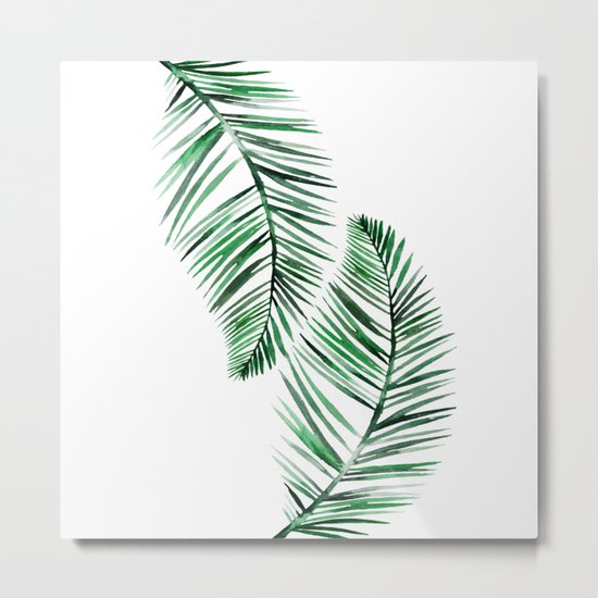Tropical Exotic Palm Leaves on #Society6 Metal Print