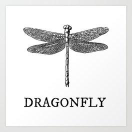 Dragonfly Vintage Illustration Art Print