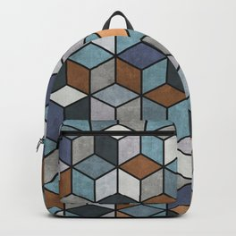 Colorful Concrete Cubes - Blue, Grey, Brown Backpack