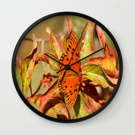 Butterfly In The Glades - Gulf Fritillary Wall Clock