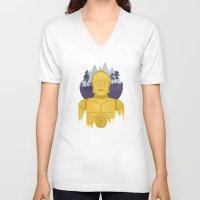c3po V-neck T-shirts featuring C3PO by Robert Scheribel