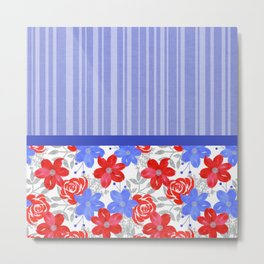 Patriotic Stripes, Red, White & Blue Flowers Metal Print