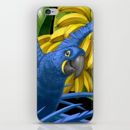 Hyacinth Macaws and bananas Stravaganza (black background). iPhone Skin