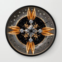 Feathers in Gold Wall Clock