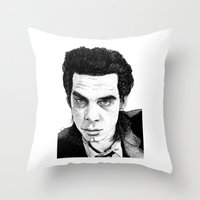"nick cave Throw Pillows featuring ""Nick Cave"" by Jocke Hegsund"