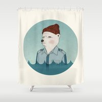 the life aquatic Shower Curtains featuring Bill Murray - Life Aquatic - round by Drivis