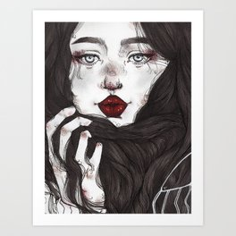 Lady Red Lips Art Print