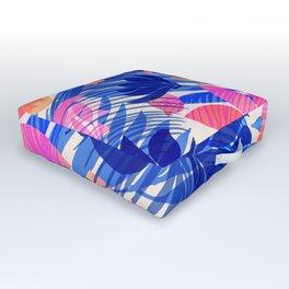 Breezy Tropics / Bright Abstract Floral Print Outdoor Floor Cushion