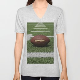 American Football Court with ball on Gras Unisex V-Neck