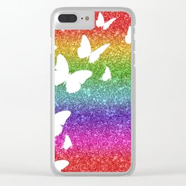 Rainbow Glitter Butterfly Collage Clear iPhone Case