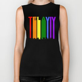 Tel Aviv Israel Gay Pride Rainbow Skyline Biker Tank