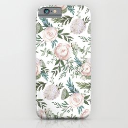 Pastel pink peonies with green leafs pattern iPhone Case