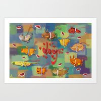 Art Print featuring Dogs by Azbeen