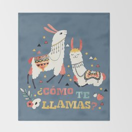 Como te Llamas. Funny Spanish Word Humor. Flowers and two Llamas Throw Blanket