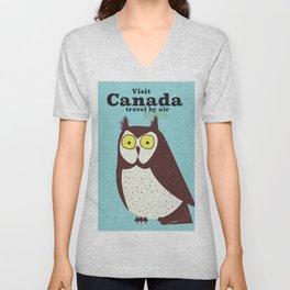 Canada Owl vintage poster Unisex V-Neck