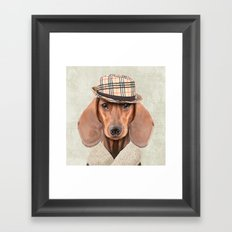 The stylish Mr Dachshund Framed Art Print