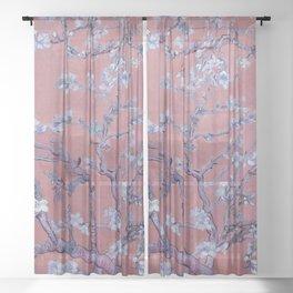 "Vincent van Gogh ""Almond Blossoms"" (edited orange) Sheer Curtain"