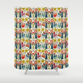 Swedish folksy cats and birds Shower Curtain