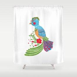 The Blue Quetzal Shower Curtain