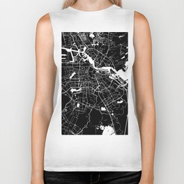 Amsterdam Black on White Street Map Biker Tank