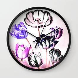 Lavender Mauve Tulips : Temple of Flora Wall Clock