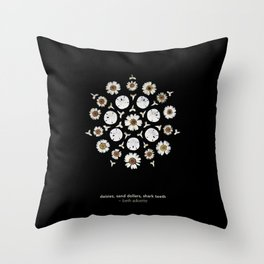 nature mandala... daisies, sand dollars, shark teeth Throw Pillow