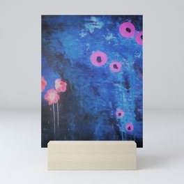 Abstract Vibrant Blue Flower Painting by Jodi Tomer. Blue, Abstract Mini Art Print