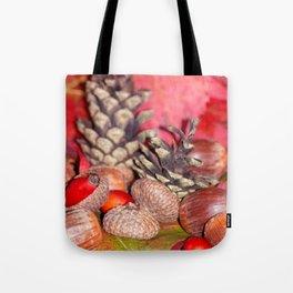 Arbores autumnales modus nucibus pineis oportebit, rosa coxis et hazelnuts Tote Bag