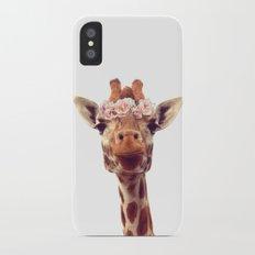 Flower crown giraffe iPhone X Slim Case