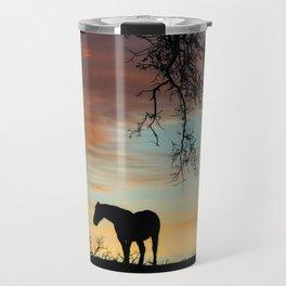 Beautiful Solitary Horse and Oak Tree With A Southwestern Colored Sky Travel Mug