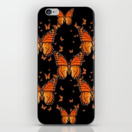 ORANGE MONARCH BUTTERFLIES BLACK MONTAGE iPhone Skin