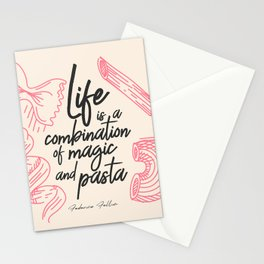 Federico Fellini, life is a combination of Magic and Pasta, handwritten quote, kitchen, food art Stationery Cards