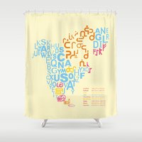 writing Shower Curtains featuring North America ~ Writing Sistems by Stop::mashina ~Runes