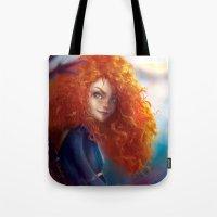 merida Tote Bags featuring Merida by ChrySsV