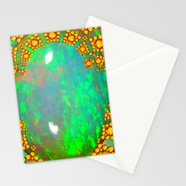 OCTOBER BIRTHSTONE GREEN FIRE OPAL & GOLD DESIGN Stationery Cards