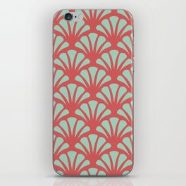 Coral and Mint Green Deco Fan iPhone Skin