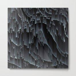 Modern Black Glitch Abstract Metal Print