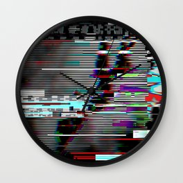 Glitch psychedelic illustratio old TV Wall Clock