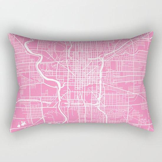 Indianapolis map pink Rectangular Pillow