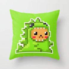 8bit Dinobear Throw Pillow