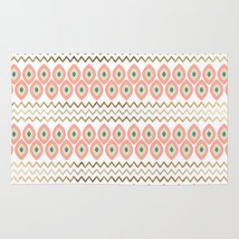 Coral faux gold leaves chevron geometrical pattern Rug
