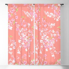 cherry blossoms in living coral Blackout Curtain