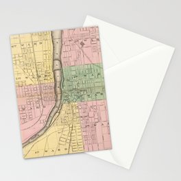 Vintage Map of Grand Rapids Michigan (1873) Stationery Cards